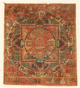 Tibetan Mandala Rakta Shadakshari Avalokiteshvara
