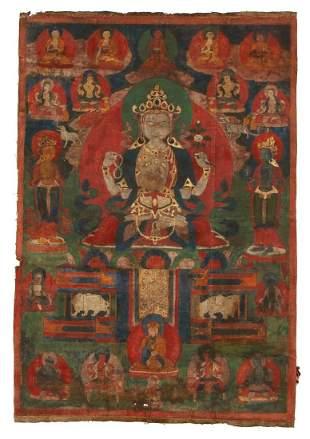 Tibetan Thangka Bodhisattva Avalokiteshvara