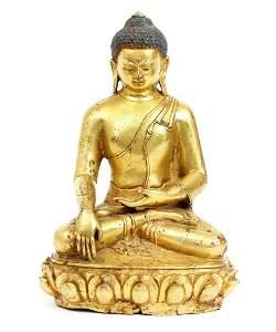Tibetan Gilded Copper Buddha Nanda Figure