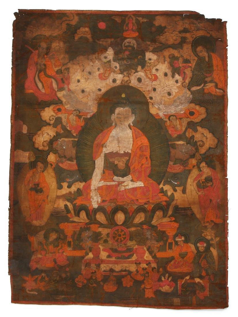 Tibetan Thangka Shakyamuni Buddha with Attendants