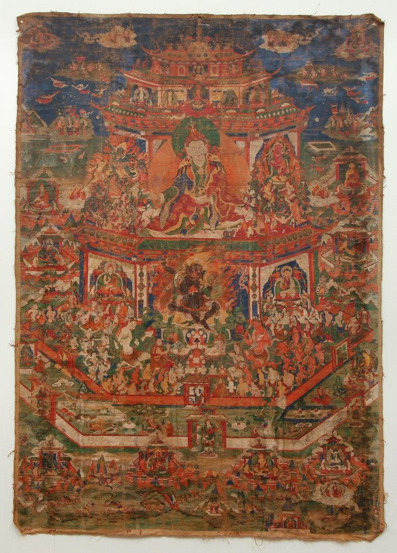 Large Tibetan Thangka of Padmasambhava Copper Mountain