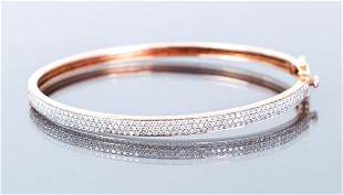 14K Rose Gold Diamond Pave Bangle