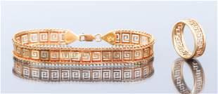 14K Gold Greek Key Bracelet and Ring