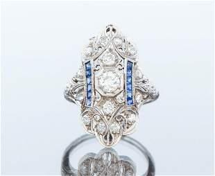 Art Deco Gold Diamond and Sapphire Ring
