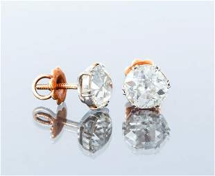 2 Carat Old Mine Cut Diamond Earrings