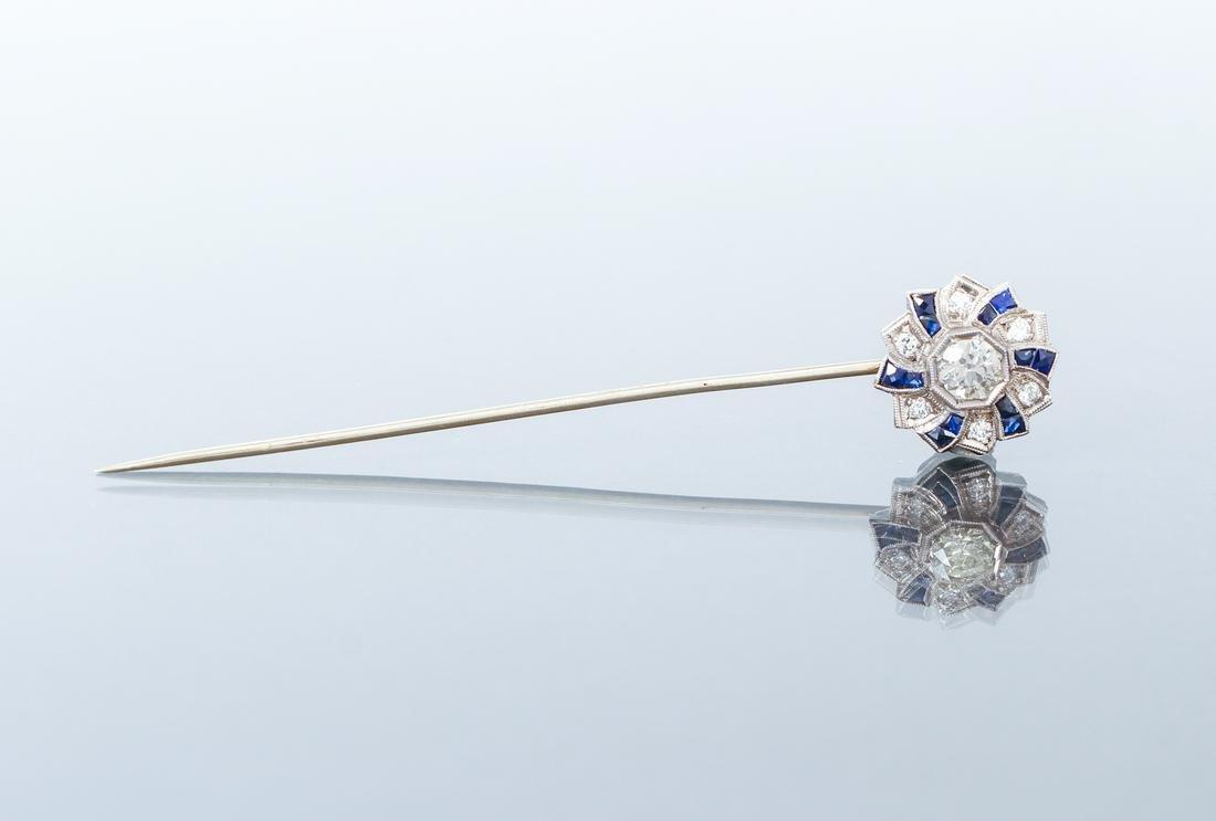 Art Deco Gold Diamond Sapphire Stick Pin
