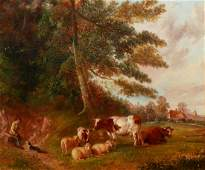 19th Century English Pastoral Oil Painting