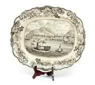Clews transferware platter Pittsburg, circa 1830