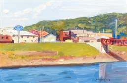 Stephen Hankin Oil Ptg Pittsburgh River Ford