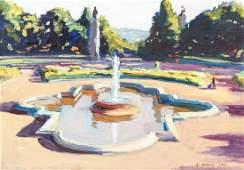 Stephen Hankin Highland Park Fountain Oil Ptg