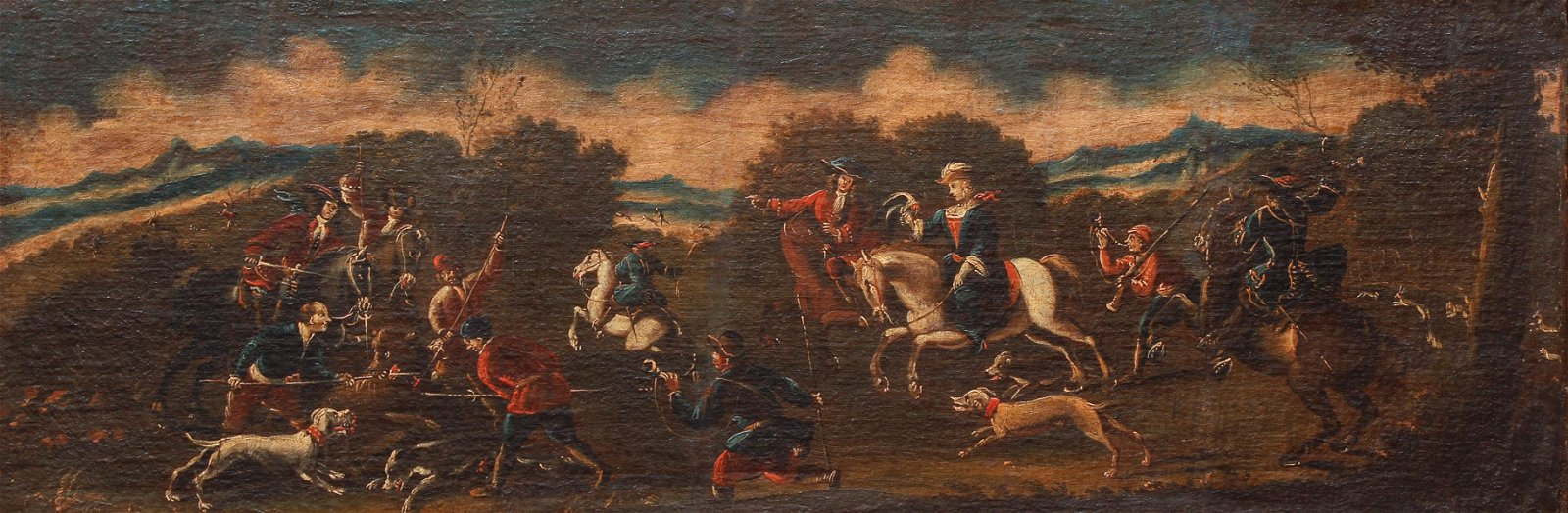 Pair Antique French Hunting Scenes Oil Paintings 18th