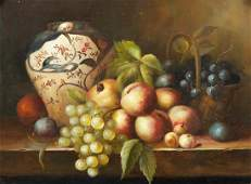 19th cent Fruit Still Life Oil Painting