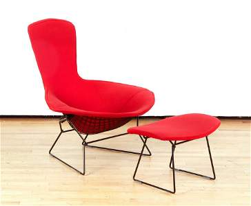 Harry Bertoia Bird Chair and Ottoman in Flame