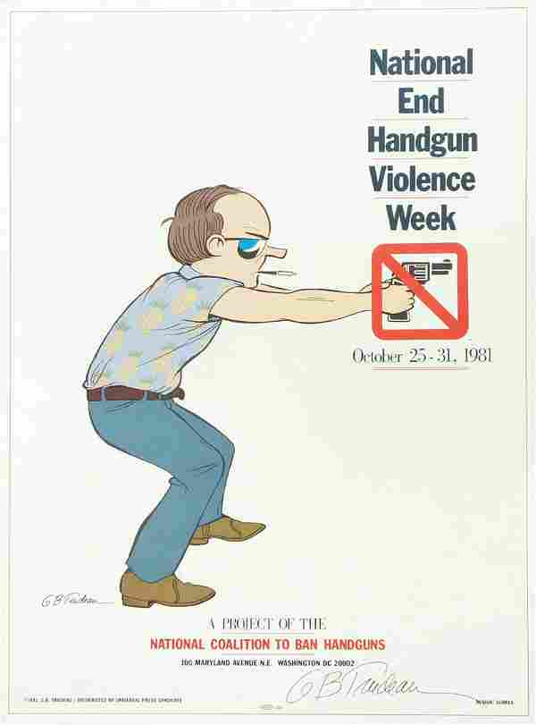Garry Trudeau Signed Poster Anti-Gun Violence
