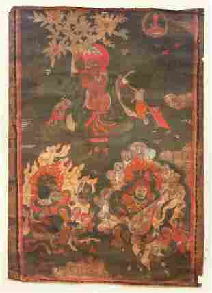 Tibetan Thangka Arhat Hvashang