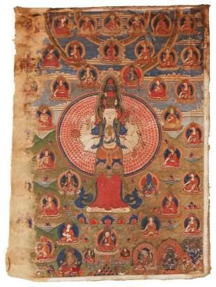 Bodhisattva Avalokiteshvara with Deities Thangka