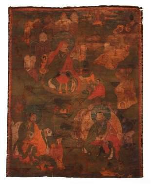 Tibetan Thangka Three Arhats Folk