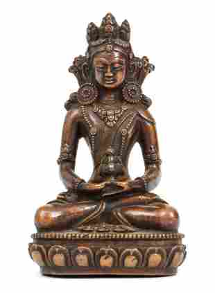 Tibetan Copper Figure of Amitayus Bodhisattva