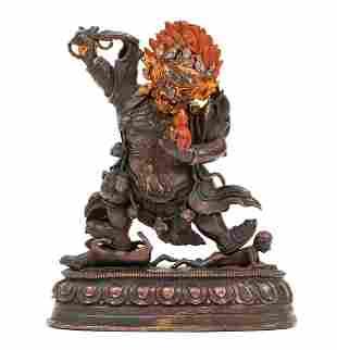 Tibetan Copper Figure Dharmapala Begtse Chen