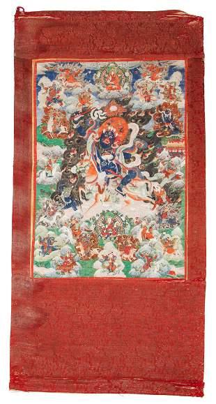 Tibetan Thangka Palden Lhamo on Mule