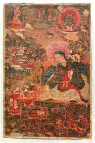Tibetan Thangka of Lama Dromton with Atisha