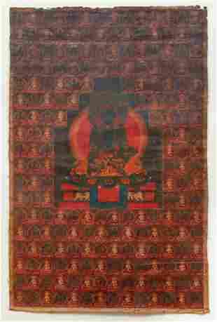 Tibetan Thangka Akshobhya Buddha Taras
