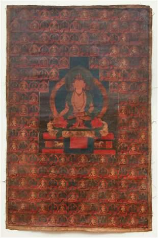 Tibetan Thangka Ratnasambhava Buddha Taras