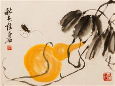 20th Century Chinese watercolor Gourd and Insect