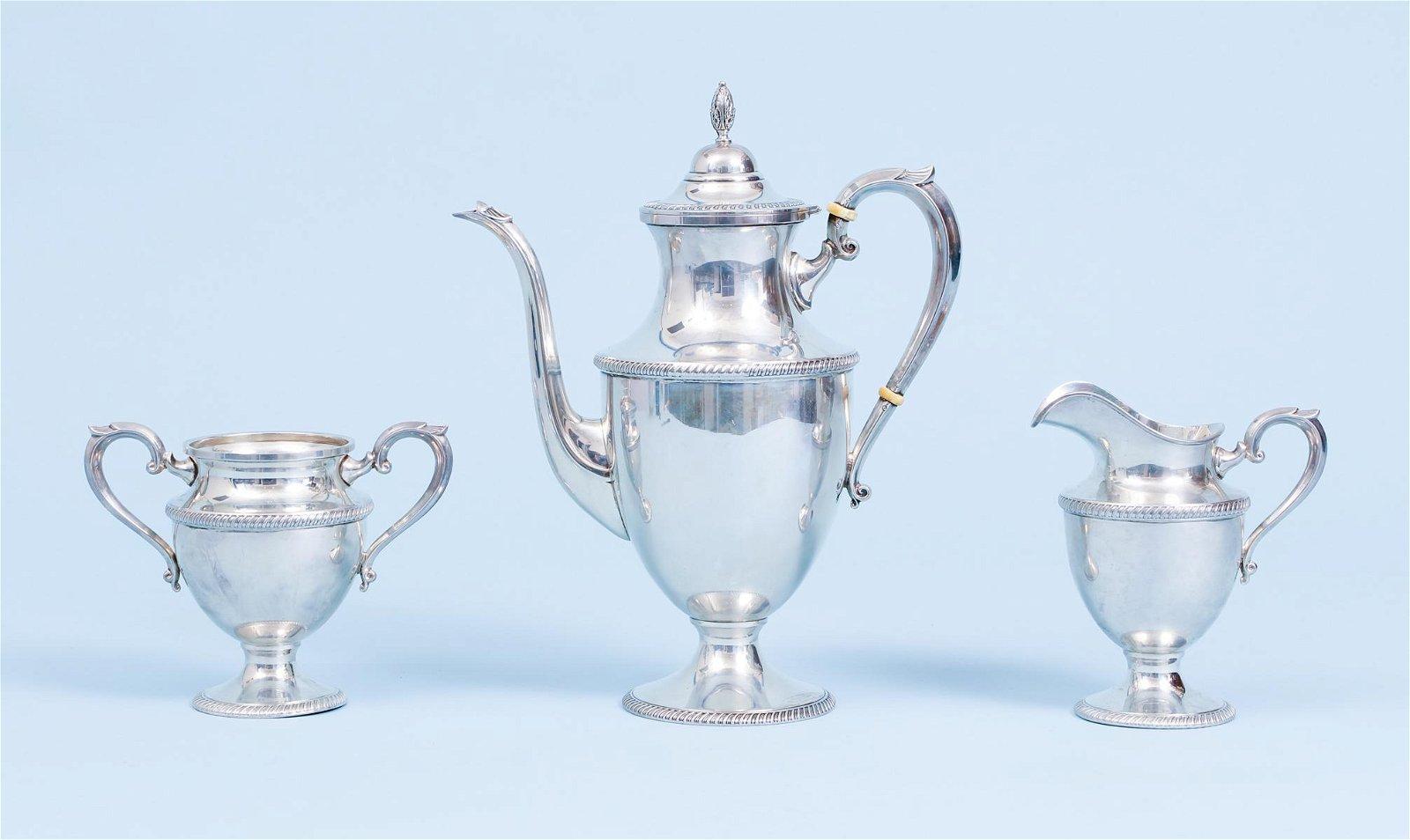 3pc Sterling Silver Tea Set Pitcher Cream Sugar