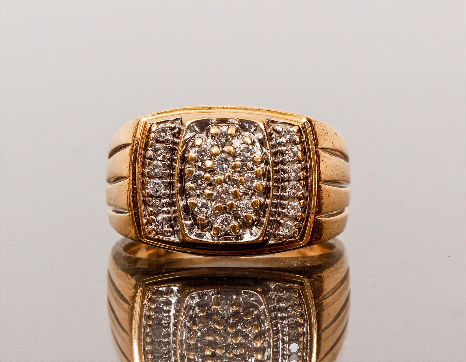 Mens 14K Gold Diamond Signet Ring