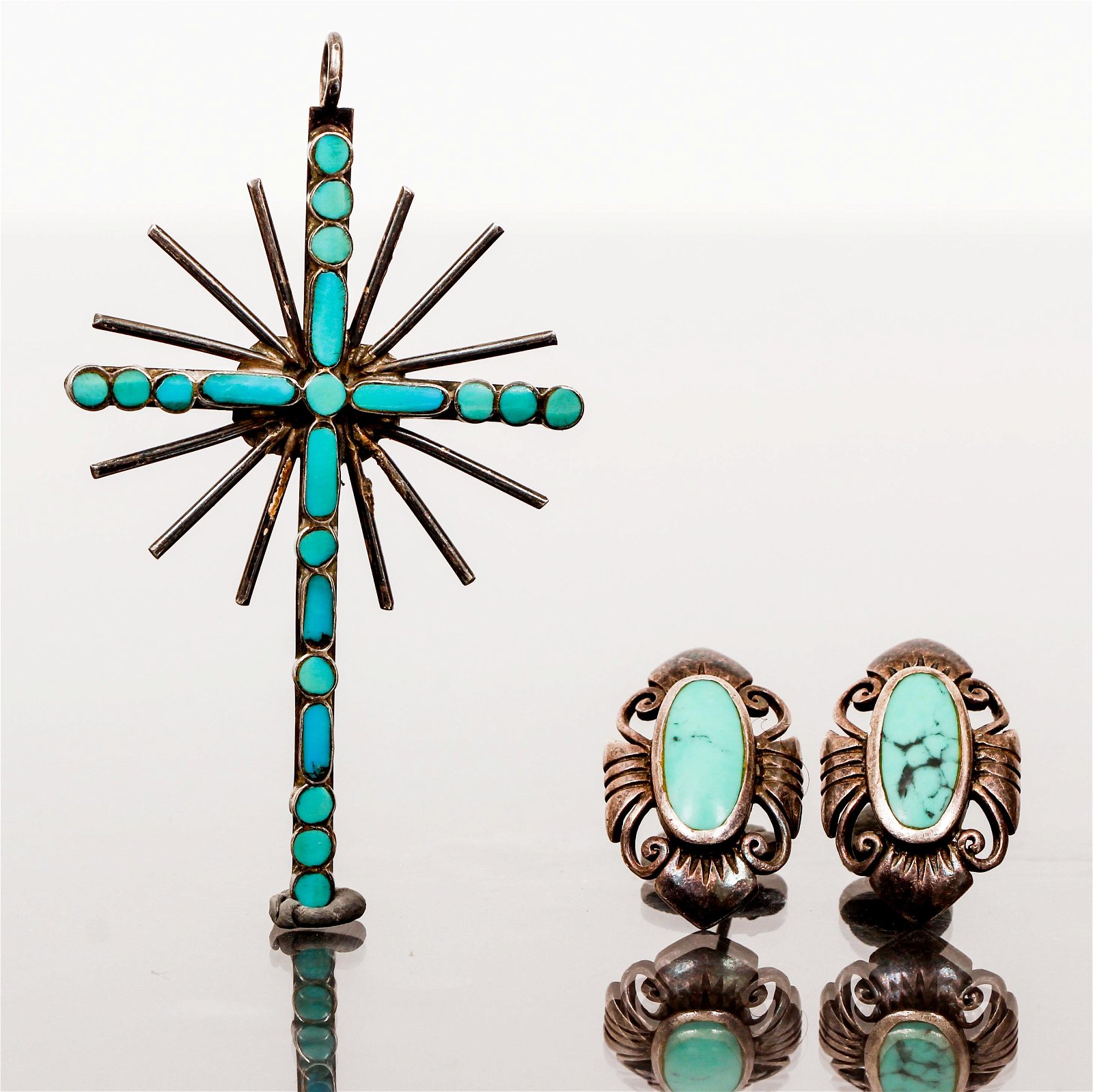 Sterling Turquoise Pendant and Earrings