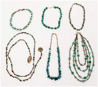 6 Sterling Turquoise and Hardstone Necklaces