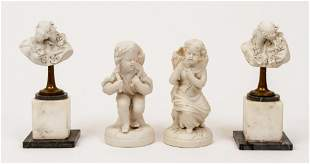 4 unglazed porcelain objects Lovers and Harvesting