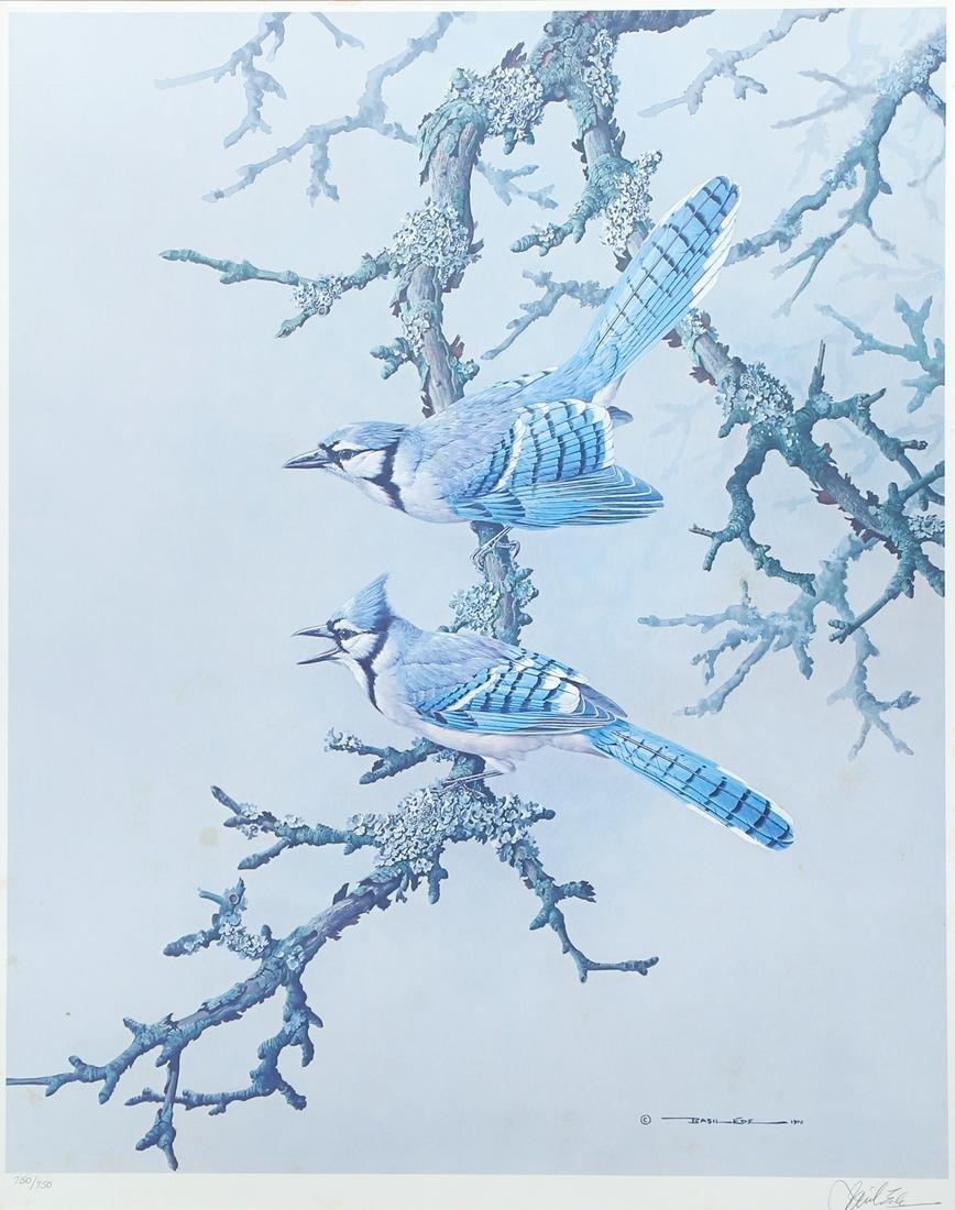 Pair Basil Ede Signed Bird Prints Blue Jays