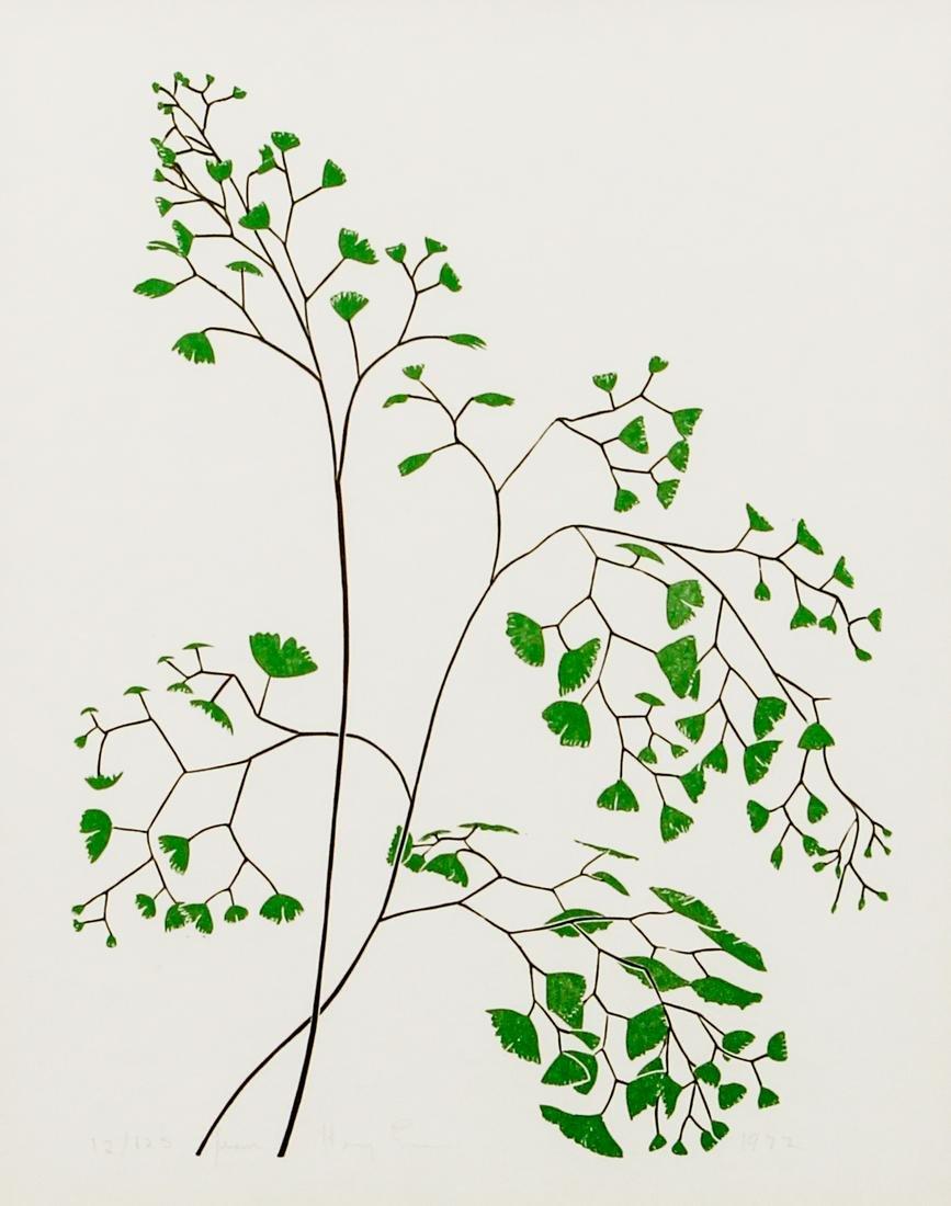 Henry Evans 1972 linocut Maidenhair Fern