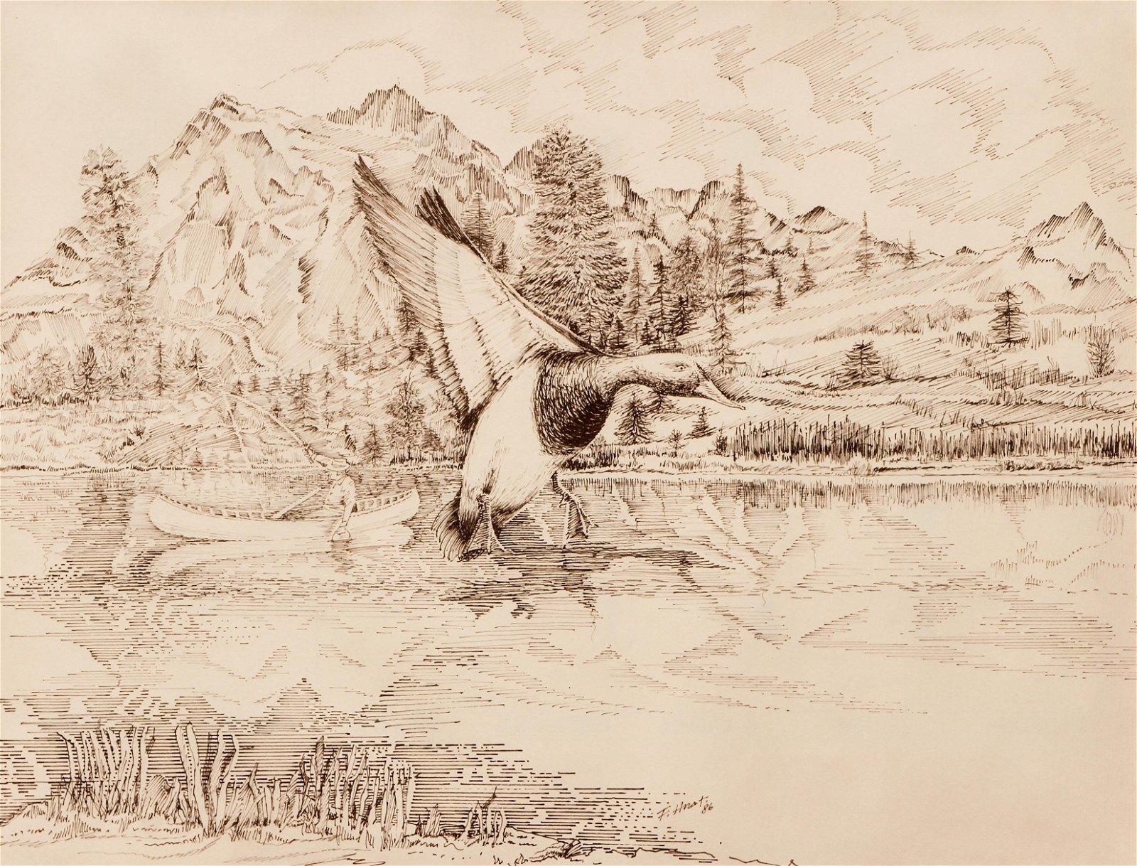 Pair Frank Hnat Ink Wild Bird Drawings