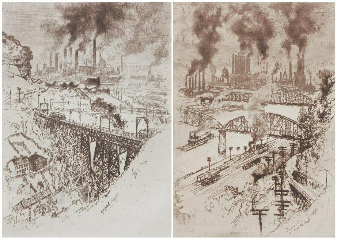 Pair Joseph Pennell Pittsburgh Steel Mill etchings