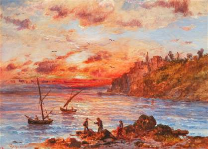 Regis Gignoux Sunset French Coast Watercolor Ptg