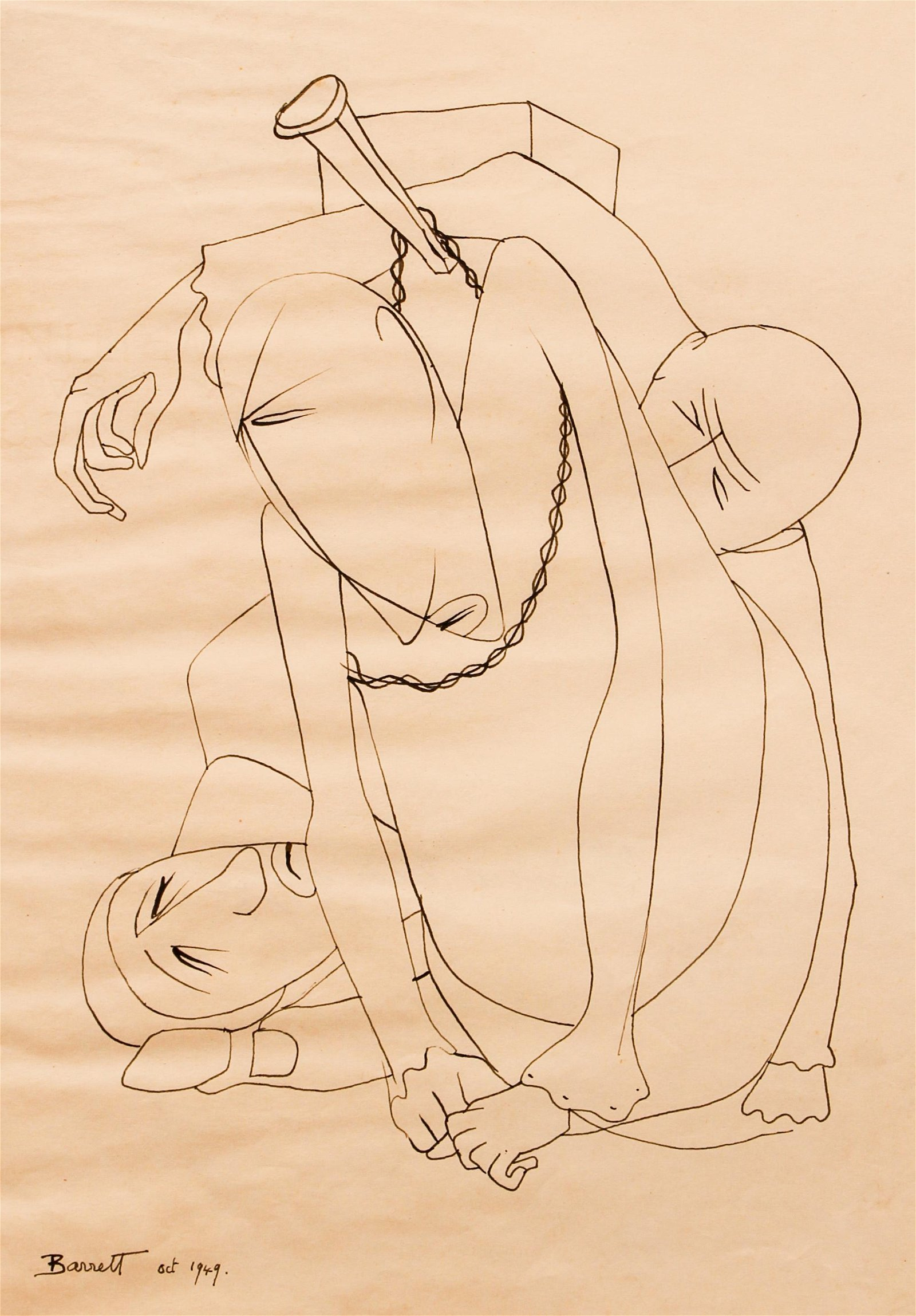Barrett drawing Chained Figures, 1949