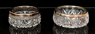 Cut Glass Bowls with Sterling Rims