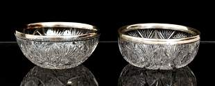 Pair Cut Glass Bowls with Gorham Sterling Rims