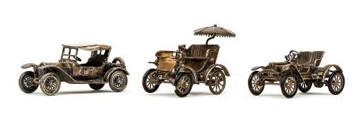 3 miniature Italian 800 silver antique Cars