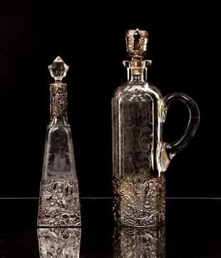2 German 835 silver encased Decanters