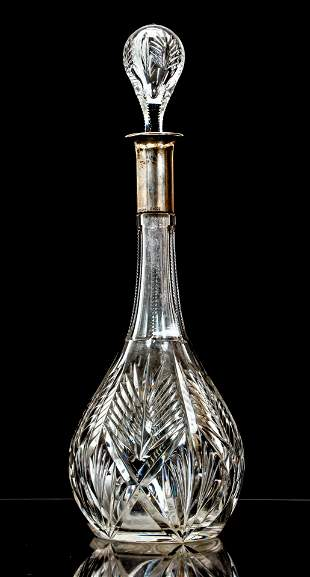 Cut Glass Decanter with 800 silver neck by Roesner,