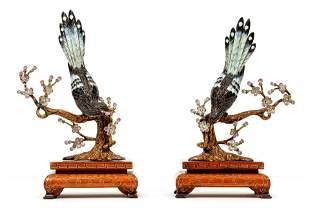 2 Chinese Enameled 925 Sterling Heron Figurines