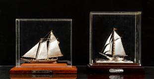 2 Cased sterling miniature Yachts