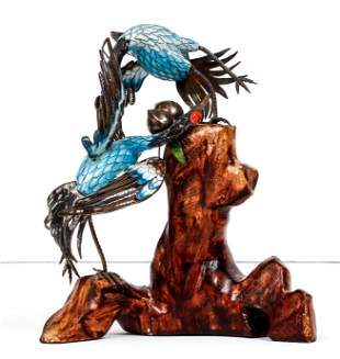 Fighting Herons for a Perch, enameled 925 sterling