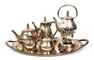 Sterling Silver Royal Danish Tea Set and Tray