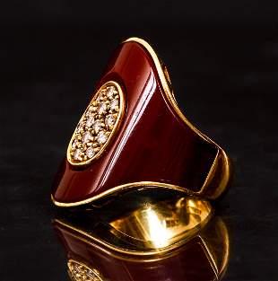18K Yellow Saddle Style Ring Italian