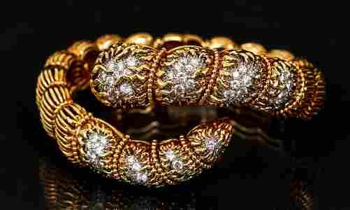 Cartier 18K Diamond Snake Bangle Bracelet